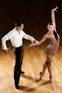 latino dance couple in action - wild samba